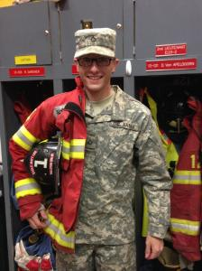 Welcome home Eagle-Matt Lee Firefighter/US Army PFC Calvin James Bauer after his completion of Army Basic Training which he started in July 2013.